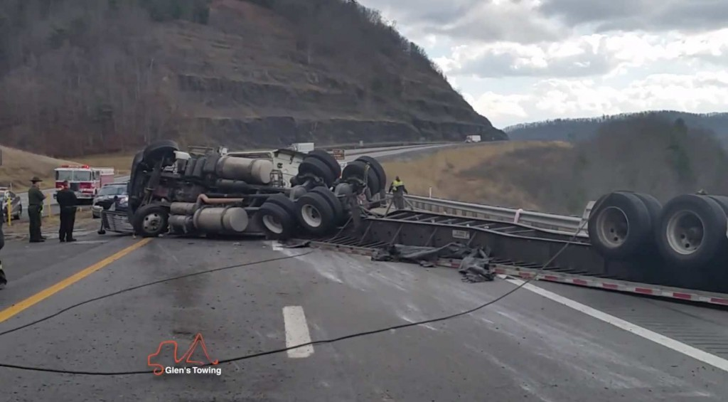 Glens Commercial Towing Tractor Trailer Cleanup with overturned Glen's Towing Blog Video